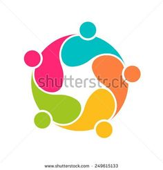 Team People logo 5 community circle interlaced.Concept group of connected people