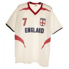 England World Cup Number 7 Mens' Football Top White/Red S - Xl Price : £3.00