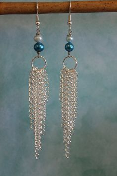 Chain Earrings Teal and Silver Earrings by beadifulexpressions, $18.00