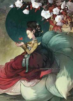 "Not only a Hanbok illustration, but it's also of the legend ""The Nine-Tailed Fox' Art And Illustration, Korean Art, Asian Art, Fantasy Kunst, Fantasy Art, Korean Mythology, Japanese Mythology, Art Magique, Fox Spirit"