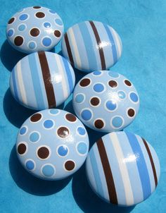 Hand Painted Knobs Baby Blue White and by sweetmixcreations, $45.00