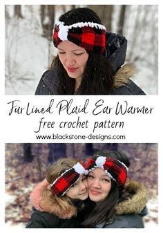 Fur Lined Plaid Ear Warmer free crochet pattern from Blackstone Designs  #crochet #freecrochetpatterns #plaid #buffaloplaid #buffalocheck #crochetplaid #crochetearwarmer #crochetaccessories #furlined #furlinedearwarmer #blackstonedesigns