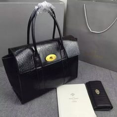 Latest Mulberry New Bayswater Tote black croc calf leather