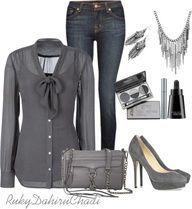 polyvore work casual, bow blouse, dark denim jeans, gray platform pumps