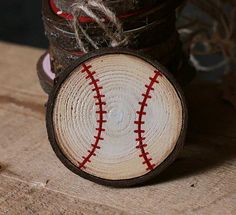 Baseball Ornament Personalized Ornament Wood by ourbackyardstudio