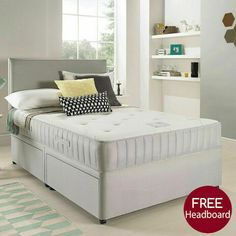 Suede divan bed set with memory mattress and headboard Cheap Mattress, Bed Mattress, 4ft Beds, Divan Sets, Leather Bed, Mattress Springs, Bed Sets, Bed Frame, Bedroom Furniture