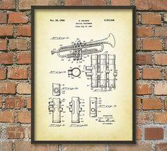 Trumpet Patent Wall Art Poster