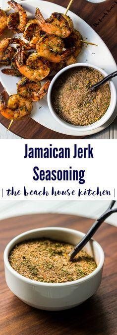 Jamaican Jerk Seasoning   The Beach House Kitchen Jamaican Cuisine, Jamaican Dishes, Jamaican Recipes, Homemade Spices, Homemade Seasonings, Seasoning Mixes, Chicken Seasoning, Hamburger Seasoning, Jamaican Jerk Seasoning