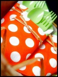 """carrot"" cutlery set for Easter party"