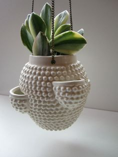 Mid Century Small Ceramic Hanging Planter by HerVintageCrush