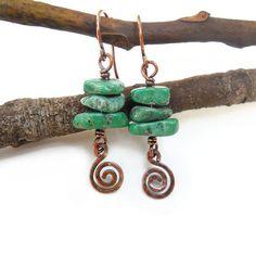 Bohemian Turquoise dangle  earrings  http://kissedbyclover.com/collections/bohemian-earrings/products/turquoise-earrings-wire-wrapped-earrings-bohemian-jewelry-wire-wrap-jewelry-earthy-earrings-wire-earrings-boho-earrings