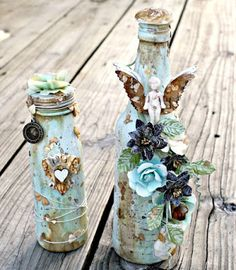 Msliberty Creations: Whimsical altered Bottles and Love letter stack for upcoming classes