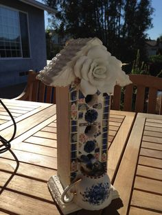 Broken China Mosaic Bird House Blue and White Vintage by thooker, $85.00