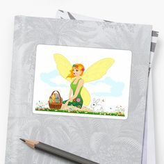 Florinda The Fairy Of Easter Cheer Stickers by TeelieTurner. www.teeliesfairygarden.com . . . Removable, individually die-cut vinyl. Ideal for smooth flat surfaces like laptops, journals, windows, etc. #fairystickers