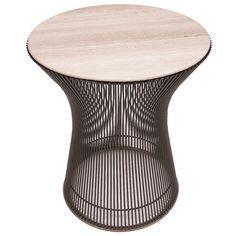 Warren Platner Side Table with Limestone Top