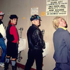 A band that pees together   Red Hot Chili Peppers, late 80's.   #johnfrusciantecentral   #johnfrusciante   #redhotchilipeppers   #rhcp   #anthonykiedis   #flea   #chadsmith