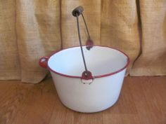 Rare Vintage White and Red Enamelware Household Pail with Wooden Handle #1979