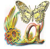 Alfabeto de mariposas en amarillo.