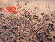 woodblock of tsunami of 1896