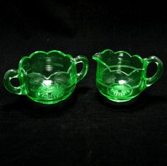 Green Depression Glass Sugar Creamer Set Vintage by charmings