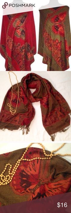 "Flash Top Rated👠Red Butterfly Pashmina Approx 72"" X 24"". Red and golden brown woven geometric and butterfly pashmina. New in packaging. Very pretty. Is double sided. 🍀Price now firm. Bundle to save.  Wool and silk blend. Fashion Pashmina Accessories Scarves & Wraps"
