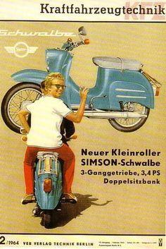 Simson Schwalbe KR 51 Reklame - New Ideas Vintage Vespa, Vintage Ads, Piaggio Vespa, Vespa Modelle, Beast From The East, Honda Cub, Bmw Autos, Audi, Camaro Rs