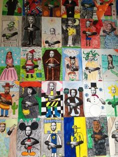 Mona lisa, art history, art parody, pop art, contrast art class ideas and s Middle School Art, Art School, High School, Contrast Art, Tableaux Vivants, 7th Grade Art, School Art Projects, Fun Projects, Ecole Art