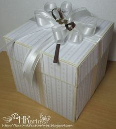 """Karins Kreativstube: Explosion Box """"Helene & Reinhard"""" creme/weiß/braun... Gift Wrapping, Gifts, Newlyweds, Cards, Wedding, Gift Wrapping Paper, Presents, Wrapping Gifts, Favors"""