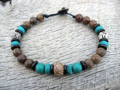 Mens surfer bracelet, turquoise, bodhi seed, wood and coconut shell beads, tribal style, handmade mens jewelry, natural beads, one of a kind