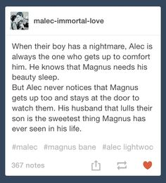 AWWWWW THE FEELS!!!!!!!!!!!!! Alec Lightwood and Magnus Bane ax parents