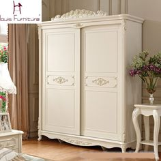Beautiful Luxury French Style Carved Princess Wardrobe Ivory - Loluxe - 1