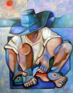 blue - amn with fish - painting - Lilian Zampol Filipino Art, Figurative Kunst, Fish Art, Art Plastique, American Art, Watercolor Art, Modern Art, Street Art, Abstract Art