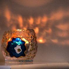 Blue Evil Eye Candle Holder Glass Painting Hand by ArzuMusa