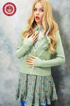 Womens Hook Flower Cardigan Sweater
