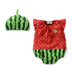 Watermelon baby romper and hat https://www.aliexpress.com/item/2014-New-Baby-boy-girl-romper-bebe-infants-summer-sleepsuit-2pcs-set-newborn-cartoon-romper-jumpsuit/2054888104.html?spm=2114.40010308.4.20.4q6NGL