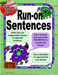 Identifying Run-on Sentences and correcting them. Activity for whole class, small groups or independent literacy station work during guided reading. Students read a sentence and determine if it is a run-on sentence. Next complete the recording sheet and correct some of the sentences.