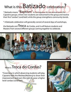 Do you know what Batizado is? Check this flyer out for more information. Capoeira Academy Okinawa's 9th annual batizado is coming up on May 31 - June 2, 2013.