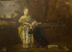 Scène galante XIX° ancienne huile sur panneau carton anonyme Napoléon III 53x40c