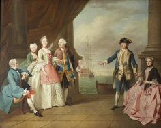 The Honourable Mrs Constantine Phipps (1722–1780), Being Led to Greet Her Brother, Captain The Honourable Augustus Hervey (1724–1779), 3rd Earl of Bristol by Hubert François Bourguignon Gravelot, Francis Hayman and Jean-Étienne Liotard