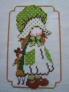 Cross Stitch Sampler, Handstitched Embroidery - Lucy - Holly Hobbie Type Doll