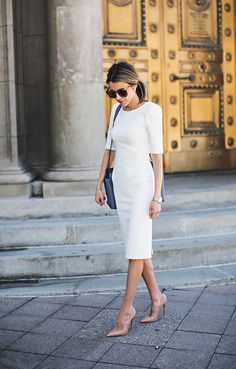 The Fail-safe Combo DETAILS: WHITE MIDI PENCIL DRESS (ALSO LOVING THIS WHITE ONE AND THIS ONE) || NAVY BLAZER || NUDE PATENT PUMPS || BLUE HANDBAG (SAME STYLE HERE – SIMILAR BLUE HERE) || SUNGLASSES || SILVER BOYFRIEND WATCH || EARRINGS * Photos by JessaKae