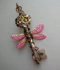 Steampunk Dragonfly Wire Wrapped Winged Clockwork Key with Gears, Swarovski Crystals (A Key to Time)
