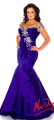 Mac Duggal 2014 Plus Size Prom Dresses - Cobalt Blue Off The Shoulder Ruched Mermaid Gown