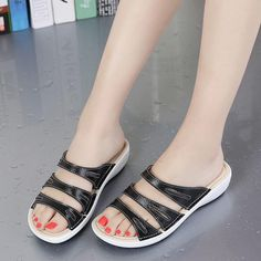 5337ca80b18a82 Candy Color Leather Slip On Beach Flat Platform Sandals For Women
