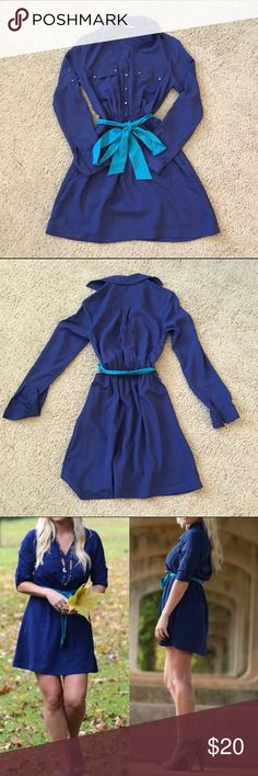 Express Navyish Royal Blue Dress Express dress, navyish blue with teal belt, elastic at the true waist, long sleeved but sleeves can be rolled to 3 quarter length. ❌No Trade ✅Bundles OK Express Dresses