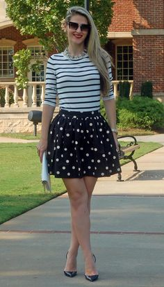 Style by TeodorasLookbook.com; stripe shirt, statement necklace, polka-dot skirt