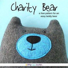 Stoff Bär - Stofftier/ Kuscheltier - Warren the Charity Bear - a free teddy bear pattern from Shiny Happy World Sewing Projects For Kids, Sewing For Kids, Free Sewing, Fleece Projects, Sewing Stuffed Animals, Stuffed Animal Patterns, Sewing Toys, Sewing Crafts, Diy Crafts