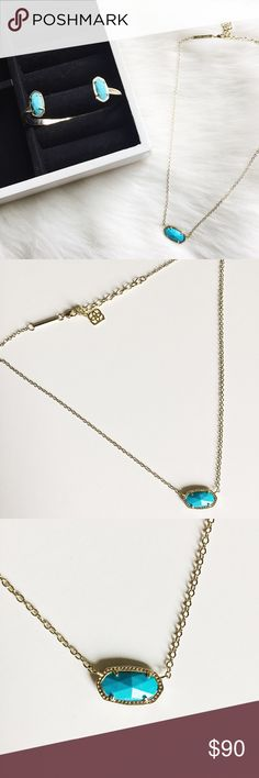 """Kendra Scott Elisa Necklace and Elton Bracelet Set Kendra Scott Elisa Pendant Necklace Elton Bracelet in turquoise set in 14k gold.  Dainty and feminine!  Layer with other necklaces or a choker!  Bracelet has intricate detail to add sparkle!  Pre-loved but in excellent condition.  No damage or signs of wear.  Authentic, no trades.  Necklace: 15"""" (adjustable to 17"""") Pendant: 0.75"""" wide Bracelet: 5.5"""" Kendra Scott Jewelry"""