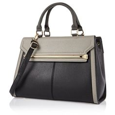 River Island Black double sided tote handbag ($90) ❤ liked on Polyvore featuring bags, handbags, tote bags, bags / purses, black, shoppers / tote bags, women, river island, shopping bag and black tote