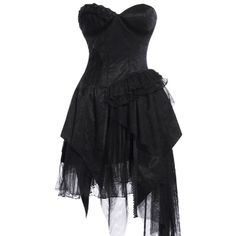 Black Layered Ruffle Skirt Dress ❤ liked on Polyvore featuring dresses, short dresses, strapless corset, short strapless dresses, little black dress, ruffled dresses and corset dresses